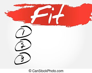 Fit blank list, health concept