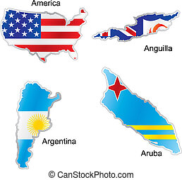 american flags in map shape