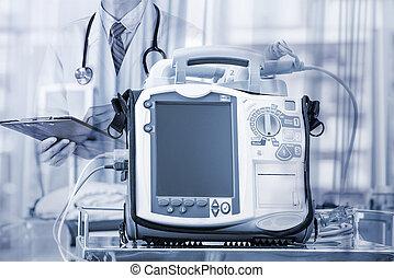 Mobile Heart Defibrillator unit - emergency high technology...