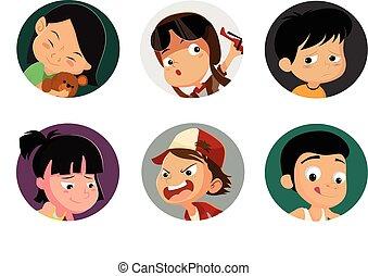 children face set.Vector illustration.