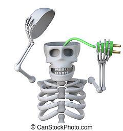 3d Skeleton plugs in his brain