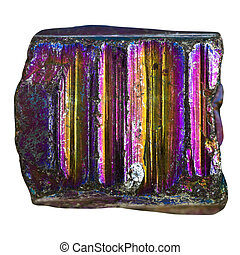 pebble from iridescent pyrite mineral stone