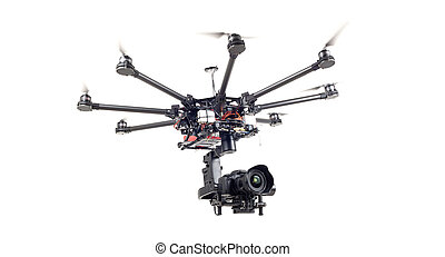 Drone, octocopter, copter - Copter closeup isolated on a...