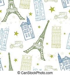 Wektor, Paryż, ulice, Błękitny, zielony, Rysunek,...