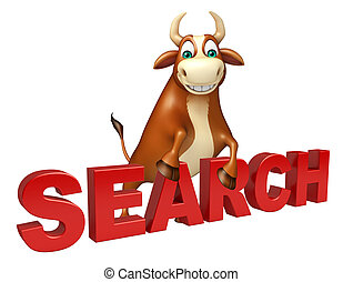 cute Bull cartoon character with search sign - 3d rendered...