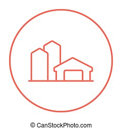 Farm buildings line icon - Farm buildings line icon for web,...