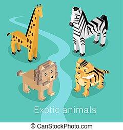 エキゾチック, 等大, セット, デザイン, 動物, 3D