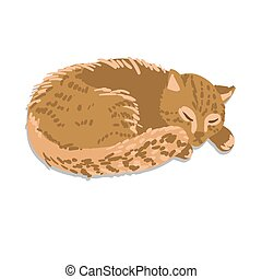 Vector illustration of sleeping cat - Ginger sleeping cat...