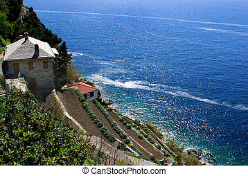 Monastery Dionisiou on Mount Athos, Chalkidiki, Greece