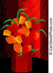 Digital painting of flowers in a vase.