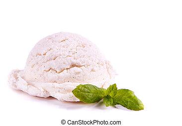 Vanilla scoop - Single ball of vanilla ice cream in a...