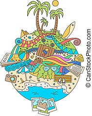 Doodle Summer Vacation Illustration