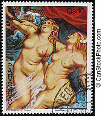 Rubens - A stamp printed in Paraguay shows draw by arist...
