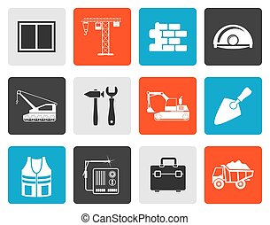 Flat building and construction icons - vector icon set