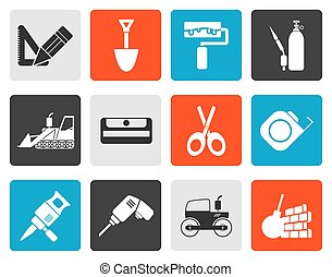 Flat building and construction icons - vector icon set 2