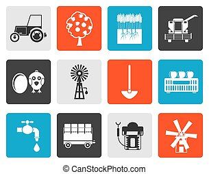 farming industry icons - Flat farming industry and farming...