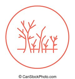 Tree with bare branches line icon. - Tree with bare branches...