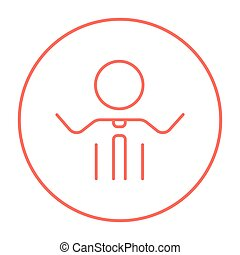Man with raised arms line icon.
