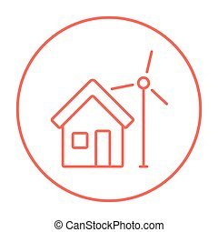 House with windmill line icon.