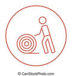 Man with wire spool line icon - Man with wire spool line...