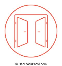 Open doors line icon - Open doors line icon for web, mobile...