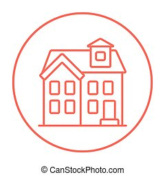 Two storey detached house line icon - Two storey detached...