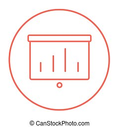 Projector roller screen line icon.
