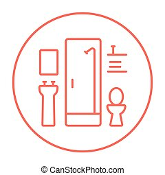 Bathroom line icon - Bathroom line icon for web, mobile and...