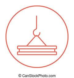 Crane hook line icon - Crane hook holding concrete slab line...