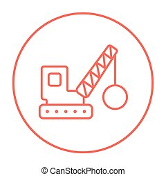 Demolition crane line icon - Demolition trailer line icon...