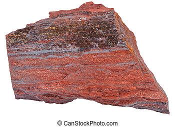 piece of ferruginous quartzite stone isolated - macro...