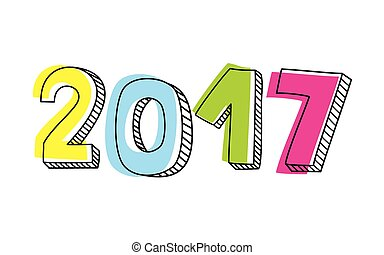 New Year 2017 hand drawn vector