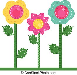 colored flowers sewn together - It is a vector illustration...