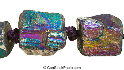 beads from iridescent pyrite gem stones close up - beads...