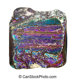 cube from iridescent pyrite mineral stone