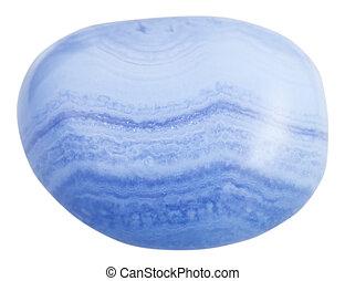 tumbled chalcedony (Blue Agate) mineral gemstone - macro...