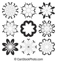 Decorative design elements Circle ornament Vector set -...