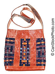 front view of bag from intertwined leatherstrips - front...