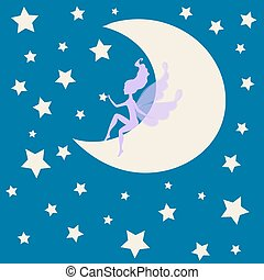 Dream fairytale fairy Silhouette sitting moon among the stars. Vector illustration drawing elf romantic girl  print. Cute magic collection  princess,  invitation, children wedding vintage card