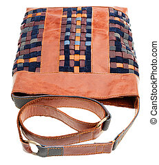 cross-body handbag from intertwined leather strips isolated...