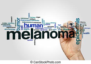 melanoma, palabra, nube,