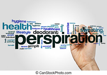 Perspiration word cloud concept with sweat health related...
