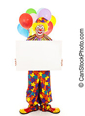 Happy Clown Holding Sign - Happy clown holding a blank sign....