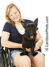 Disabled Girl and Canine Friend - Pretty teen girl in a...