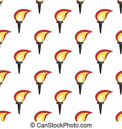 Glowing torch seamless pattern