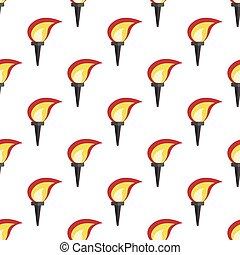 Glowing torch seamless pattern