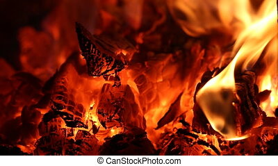 burning fire in the fireplace closeup