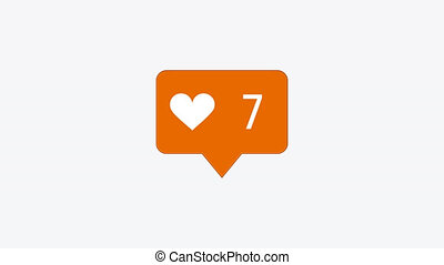 modern like orange icon on white background - animation -...
