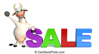 cute Cow cartoon character with big sale - 3d rendered...
