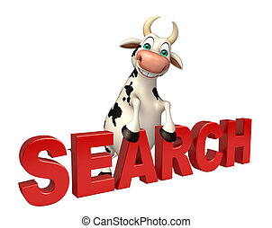 Cow cartoon character with search sign - 3d rendered...